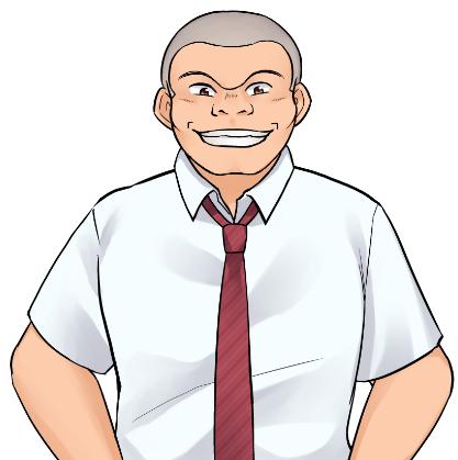 星桜男子硬式野球部一塁手、パワー自慢でパンチ力があるが小心者